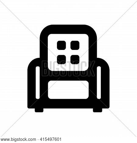 Chair, Armchair, Recliner Or Lounge Solid Black Line Icon. Relax Concept. Business Furniture Store.