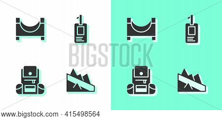 Set Mountain Descent, Skate Park, Hiking Backpack And Identification Badge Icon. Vector