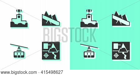 Set Folded Map, Award Winner Podium, Cable Car And Mountain Descent Icon. Vector