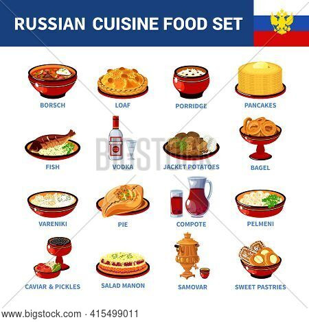Russian National Food Dishes Flat Icons Set With Porridge Pancakes Borsch And Vodka Abstract Isolate