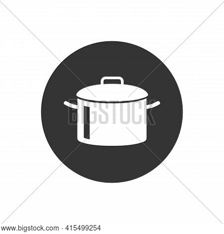 Cooking Pot Or Stockpot Stock Pot Flat Vector White Icon For Cooking