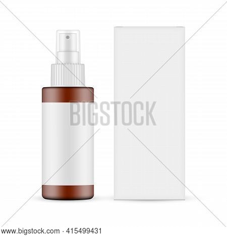 Plastic Frosted Amber Spray Bottle With Blank Label, Paper Box Front View, Isolated On White Backgro