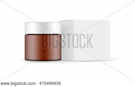 Plastic Frosted Amber Cosmetic Jar With Paper Box Mockup, Side View, Isolated On White Background. V