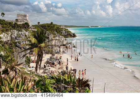 Tulum, Mexico - January 24, 2018: Playa Ruinas, A Beach Frequented By Visitors To The Tulum Archeolo