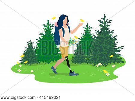Vector Illustration Of A Disabled Girl With A Prosthetic Leg Leads An Active Lifestyle And Goes Hiki