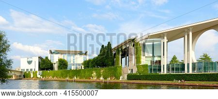 Berlin, Germany, June 12, 2020, The Back Side Of The Chancellery Seen From The River Spree