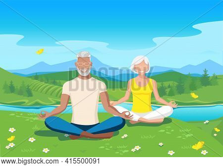 Active Seniors Practice Yoga Against The Backdrop Of A Beautiful Summer Landscape. Active Lifestyle
