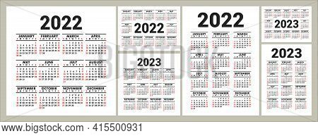 Calendars For 2022 And 2023 Years. English Vector Square, Horizontal And Vertical Wall Or Pocket Cal