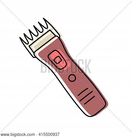 Clipper. Hairdressing Equipment Line Sketch. Professional Hair Dresser Tool. Hand Drawn Doodle Icon.