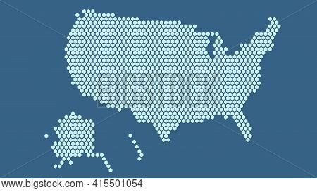 Dark Blue Hexagonal Pixel Map Of Usa. Vector Illustration United States Hexagon Map Dotted Mosaic. A