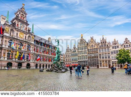Market Square In Center Of Antwerp With Brabo Fountain And City Hall, Belgium