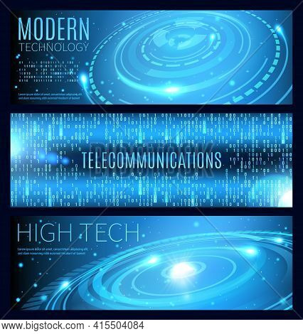 Modern Technology, High Tech And Telecommunication Vector Banners With Blue Neon Binary Data Flow, H