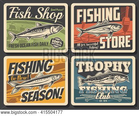 Fishing Sport Club Retro Posters With Vector Ocean Fish, Fishing Rod, Boat And Fisherman Tackle. Sal