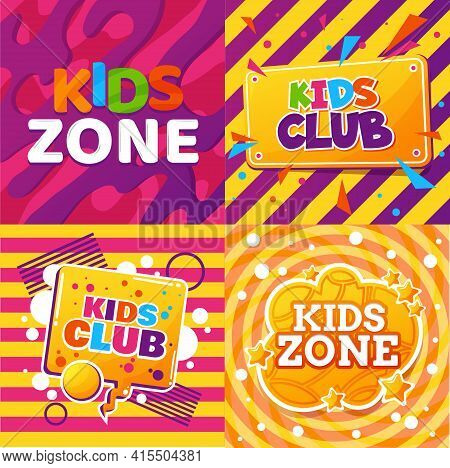 Kids Club Vector Design Of Child Education And Entertainment Activities. Game Room, Play Zone, Playg