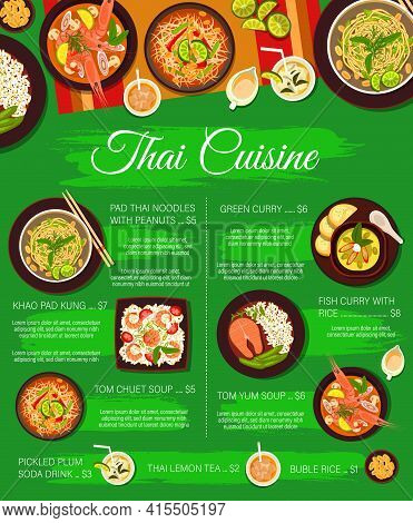 Thai Food Cuisine Menu, Restaurant Meals And Dishes Vector. Thai Cuisine Menu Cover With Price For T