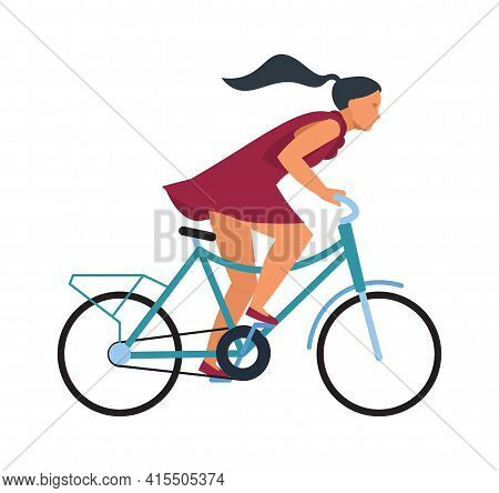 Girl On Bike. Cartoon Woman Riding Bicycle Fast. Profile View Of Young Female On Wheel Transport. Is