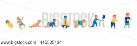 Little Boy. Cartoon Baby Growth Steps, Toddler Growing Up Evolution. Sequential Pediatrician Infogra