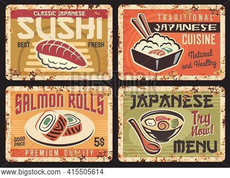 Japanese Cuisine Restaurant Meals Menu Rusty Metal Plates. Fresh Nigiri Sushi, Rice With Salmon Fish