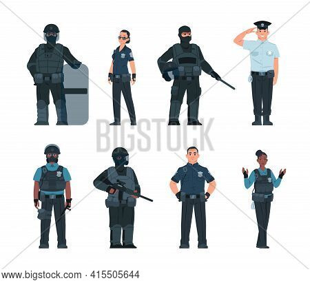 Police Officers. Policeman And Security Guard Persons With Various Ammunition. Standing Male And Fem