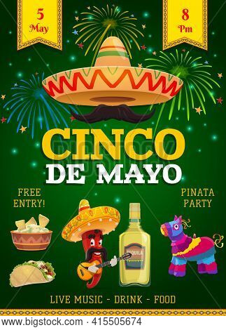 Cinco De Mayo Festive Flyer, Mexican Holiday Invitation. Fiesta Party Traditional Food And Drink, So