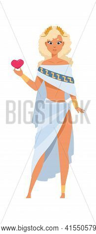 Aphrodite Or Venus. Cartoon Goddess Of Love And Beauty. Ancient Greek God In Toga And Gold Wreath. B