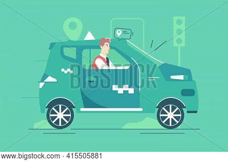 Concentrated Taxi Driver In Green Car Vector Illustration. Friendly Taxi Driver Riding Automobile Fl