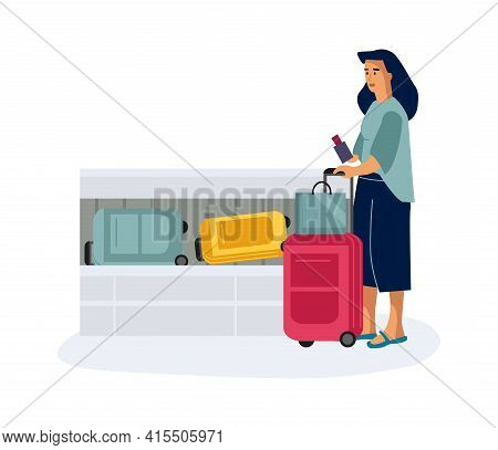 Baggage Claim. Woman With Luggage In Airport. Aircraft Passenger Takes Away Suitcases From Conveyor.