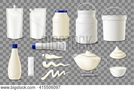 Mayonnaise Package Mockups, Realistic Plastic Containers, Sachet Bags And Jars, Vector Blank Templat