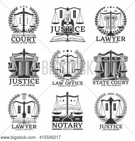 Justice Icons, Lawyer Or Notary Service Office And Law Court Vector Emblems. Legislation, Jurisprude