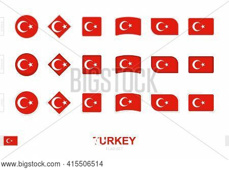 Turkey Flag Set, Simple Flags Of Turkey With Three Different Effects. Vector Illustration.