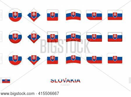 Slovakia Flag Set, Simple Flags Of Slovakia With Three Different Effects. Vector Illustration.