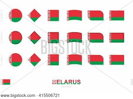 Belarus Flag Set, Simple Flags Of Belarus With Three Different Effects. Vector Illustration.
