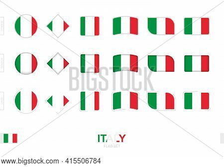 Italy Flag Set, Simple Flags Of Italy With Three Different Effects. Vector Illustration.