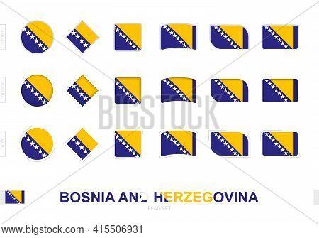 Bosnia And Herzegovina Flag Set, Simple Flags Of Bosnia And Herzegovina With Three Different Effects