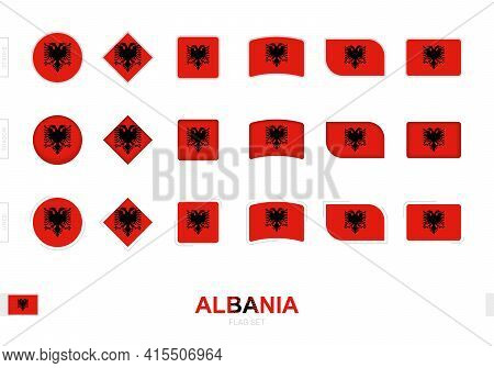 Albania Flag Set, Simple Flags Of Albania With Three Different Effects. Vector Illustration.