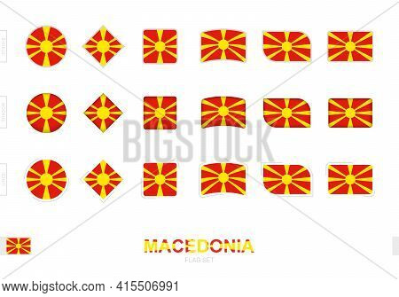 Macedonia Flag Set, Simple Flags Of Macedonia With Three Different Effects. Vector Illustration.