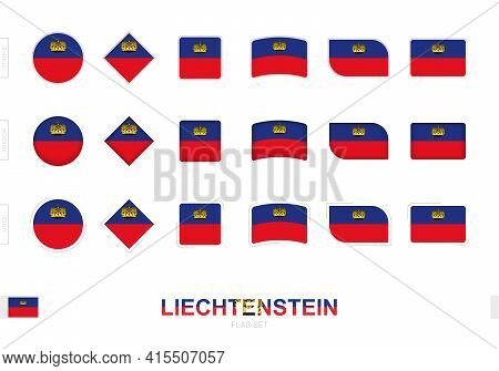 Liechtenstein Flag Set, Simple Flags Of Liechtenstein With Three Different Effects. Vector Illustrat