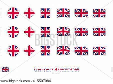 United Kingdom Flag Set, Simple Flags Of United Kingdom With Three Different Effects. Vector Illustr