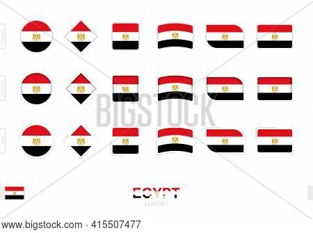 Egypt Flag Set, Simple Flags Of Egypt With Three Different Effects. Vector Illustration.
