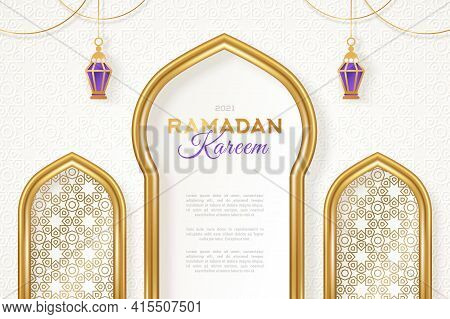 Ramadan Kareem Concept Banner With Gold 3d Frame, Arab Window On White Background With Beautiful Ara