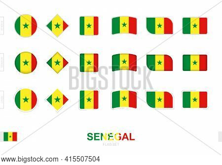 Senegal Flag Set, Simple Flags Of Senegal With Three Different Effects. Vector Illustration.