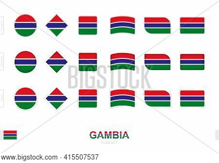 Gambia Flag Set, Simple Flags Of Gambia With Three Different Effects. Vector Illustration.