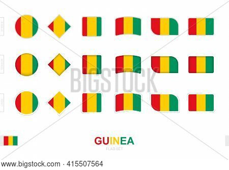 Guinea Flag Set, Simple Flags Of Guinea With Three Different Effects. Vector Illustration.