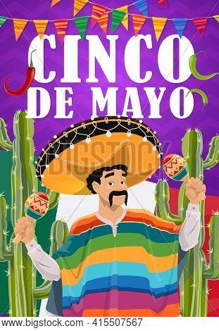 Cinco De Mayo Mariachi In Sombrero With Maracas Vector Mexican Holiday. Fiesta Party Musician Cartoo
