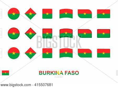 Burkina Faso Flag Set, Simple Flags Of Burkina Faso With Three Different Effects. Vector Illustratio