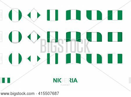 Nigeria Flag Set, Simple Flags Of Nigeria With Three Different Effects. Vector Illustration.