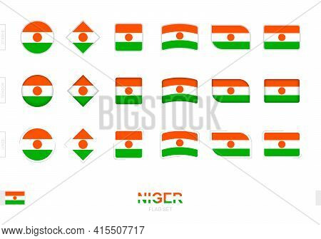 Niger Flag Set, Simple Flags Of Niger With Three Different Effects. Vector Illustration.