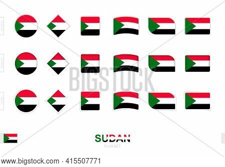 Sudan Flag Set, Simple Flags Of Sudan With Three Different Effects. Vector Illustration.