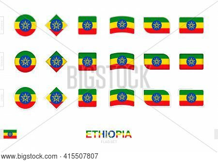 Ethiopia Flag Set, Simple Flags Of Ethiopia With Three Different Effects. Vector Illustration.