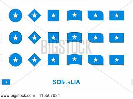 Somalia Flag Set, Simple Flags Of Somalia With Three Different Effects. Vector Illustration.